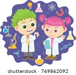 two young little kid doing... | Shutterstock .eps vector #769862092