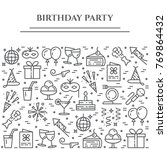 birthday party banner with... | Shutterstock .eps vector #769864432