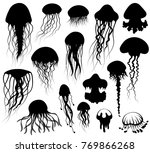 set of jellyfish silhouettes | Shutterstock .eps vector #769866268