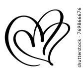 two lovers heart. handmade... | Shutterstock .eps vector #769866676