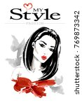 stylish beautiful woman. hand... | Shutterstock .eps vector #769873342