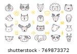 Cute Animal Faces Set. Hand...