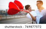 beautiful couple in love at... | Shutterstock . vector #769877572