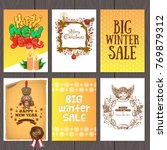 set of beautiful cards with... | Shutterstock .eps vector #769879312