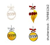 beer text. christmas balls. set.... | Shutterstock .eps vector #769881262