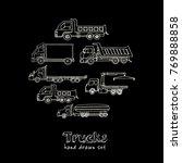 hand drawn doodle truck set.... | Shutterstock .eps vector #769888858