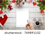 female hand touching white... | Shutterstock . vector #769891132