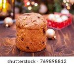 homemade panettone christmas...   Shutterstock . vector #769898812