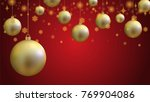 gold christmas ball and gold... | Shutterstock .eps vector #769904086