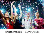 four friends making having fun... | Shutterstock . vector #76990918