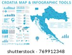 croatia map   detailed info... | Shutterstock .eps vector #769912348