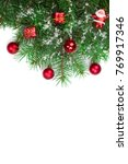 christmas background with balls ... | Shutterstock . vector #769917346