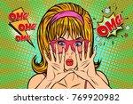 omg pop art woman hid her face. ...   Shutterstock .eps vector #769920982
