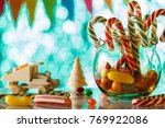 cane caramel  in a glass jar.... | Shutterstock . vector #769922086