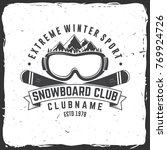 snowboard club. vector... | Shutterstock .eps vector #769924726
