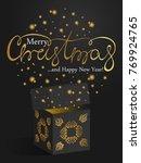 golden merry christmas font on... | Shutterstock .eps vector #769924765