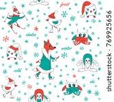 funny animals in winter....   Shutterstock .eps vector #769925656