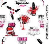 manicure vector seamless...   Shutterstock .eps vector #769925992