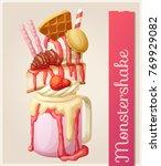 strawberry monstershake dessert.... | Shutterstock .eps vector #769929082
