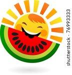 happy sun eating slice of... | Shutterstock .eps vector #76993333