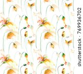 seamless wallpaper with lily ... | Shutterstock . vector #769936702