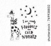 funny giraffe. winter postcard... | Shutterstock .eps vector #769938832