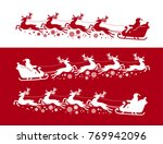 santa claus in sleigh with... | Shutterstock .eps vector #769942096
