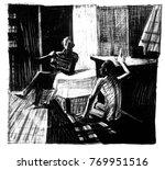 the conversation of two men in... | Shutterstock . vector #769951516