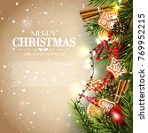 christmas card with fir... | Shutterstock .eps vector #769952215
