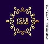 circle leaves line logo template   Shutterstock .eps vector #769952746