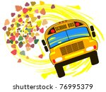 school bus against the backdrop ... | Shutterstock .eps vector #76995379