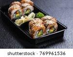 black dragon roll with unagi in ... | Shutterstock . vector #769961536