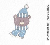 funny teddy bear. nursery art.... | Shutterstock .eps vector #769962802