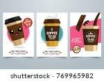 hot coffee cartoon illustration.... | Shutterstock .eps vector #769965982