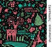 decorative hand drawn christmas ... | Shutterstock .eps vector #769966492