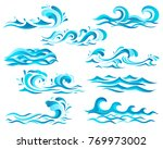 decorative blue sea waves and... | Shutterstock . vector #769973002