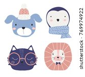 Stock vector set of cartoon cute animal faces vector hand drawn illustration 769974922