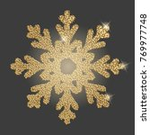 snowflake with gold glitter... | Shutterstock . vector #769977748