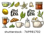 set tea with lettering. cup ... | Shutterstock .eps vector #769981702