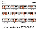 piano chord 7sus4 chart graphic ... | Shutterstock .eps vector #770008738