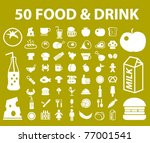 50 natural food   drink icons ... | Shutterstock .eps vector #77001541