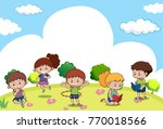scene with many kids doing... | Shutterstock .eps vector #770018566