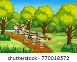 scene with kids scouting the... | Shutterstock .eps vector #770018572