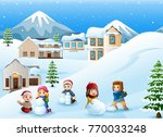 cartoon kids playing in the snow | Shutterstock . vector #770033248
