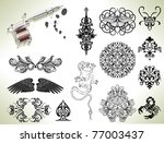 series set of tattoo flash... | Shutterstock .eps vector #77003437