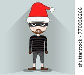cute thief with santa claus hat ... | Shutterstock .eps vector #770036266