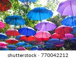 beautiful colorful umbrellas in ... | Shutterstock . vector #770042212