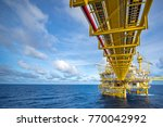 large offshore oil rig drilling ... | Shutterstock . vector #770042992