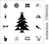 christmas pine tree icon. set... | Shutterstock .eps vector #770044222