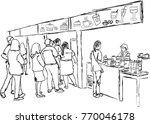 vector art drawing of people in ... | Shutterstock .eps vector #770046178